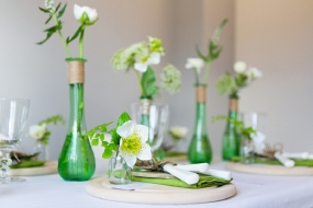 green-glass-bottles-wedding-centrepies-organic-shape-rustic-wedding-decorations-5